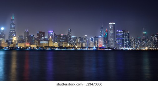 lights of downtown of Chicago
