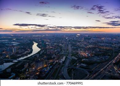 Lights of the evening city