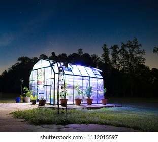 Lights glowing brightly in a small greenhouse with stars in the sky above