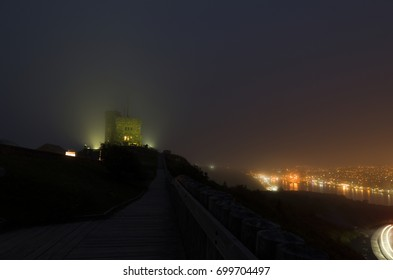 The lights from the harbour, the cars going up and down the roadway up Signal hill and even the lights from the Citadel through the fog as it rolled in over the harbour and up the hill.