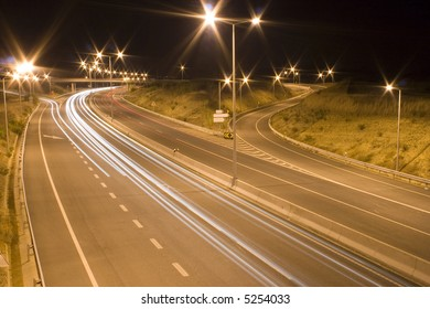 the lights of a highway at night