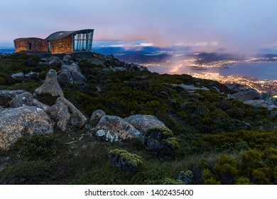 The lights of Hobart from Mount Wellington at Dawn.