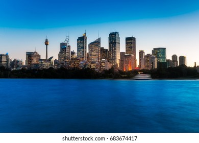 Lights just came up in Downtown City of Sydney at blue hour making the skyline even more mesmerizing. Long exposure photography with extra space for adding text if necessary.