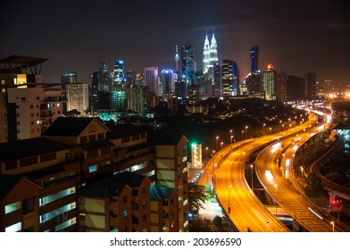 lights of Kuala Lumpur skyline, round shape bokeh
