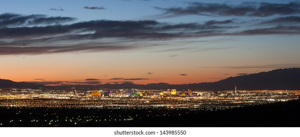 Lights of Las Vegas at Sunset