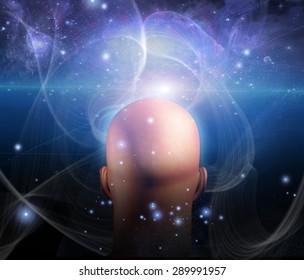 Lights and lines swirl around mans head