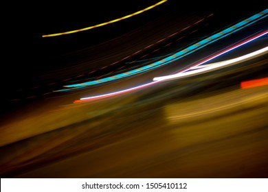 Lights in motion at night as an abstract background.