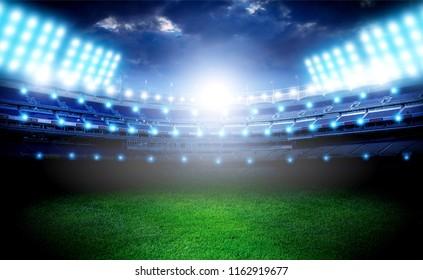Lights at night empty  stadium