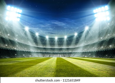 Lights at night and football stadium 3d rendering