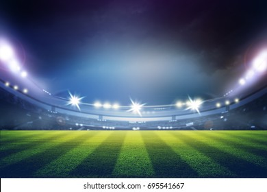 lights at night and football stadium 3D