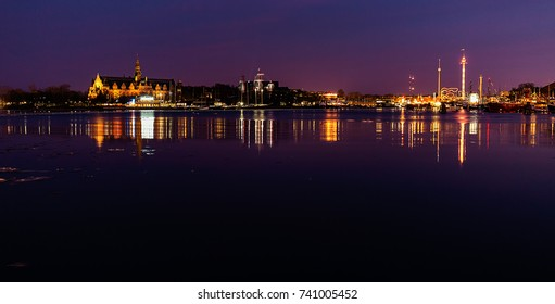 Lights at night in Stockholm city.