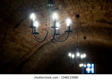Lights in an old castle corridor, horizontal image