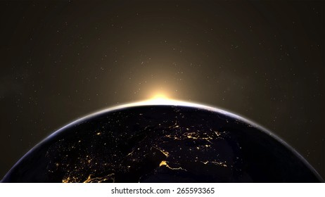 Lights on Earth planet. Elements of this image furnished by NASA