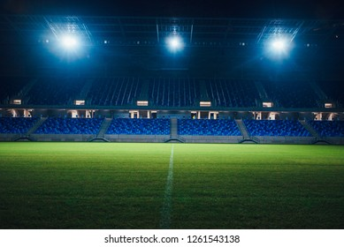 Lights on empty football stadium