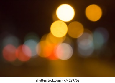 Lights out at night bokeh background