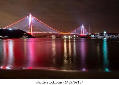 Lights over Yavuz Sultan Selim Bridge, Istanbul, Turkey.  Long explosure, night landscape photo of third bridge.