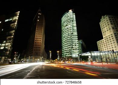 Lights in Postdamer Platzt. Berlin at night, Germany