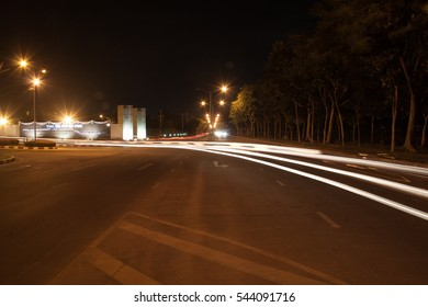 Lights in the road.