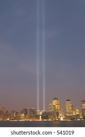 the lights of the September 11th memorial in downtown Manhattan