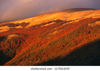 Lights and shadows on mountain at sunset