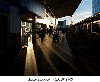 Lights and shadows from Warsaw.  Warsaw, Poland - April 08, 2017 Phenomenal scenery with light and shade at the Warszawa Centralna railway station.