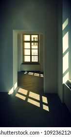 lights and shadows of windows inside an apartment. Vertical photo
