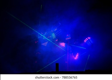 Lights show. Laser show. Nightclub dj parties use music, dancing sound with bright light. club night light dj party club. With car for smoke and lights.