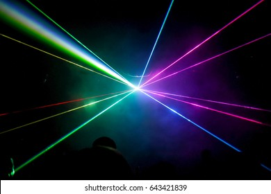 Lights show. Lazer show. Night club dj party people enjoy of music dancing sound with colorful light. club night light dj party club. With Smoke Machine and lights.