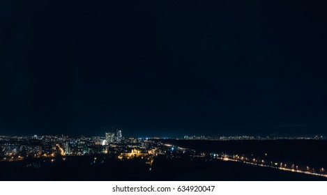 Lights of a small city in Russia