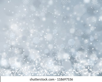 Lights and snowflakes on grey background