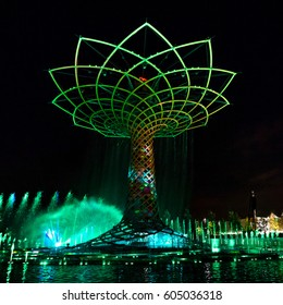 Lights and Sound Show of the Tree of Life or Albero della Vita during the last universal Expo in Milan Italy 2015