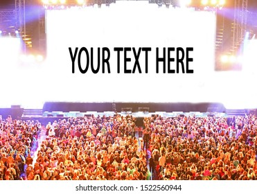 lights of stage and the people during the live event with customizable text