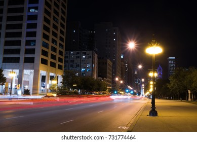 Lights of summer night Chicago Downtown streets