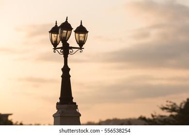 Lights at sunset