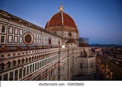 Lights of the sunset over the Basilica of Santa Maria del Fiore in Florence, Italy
