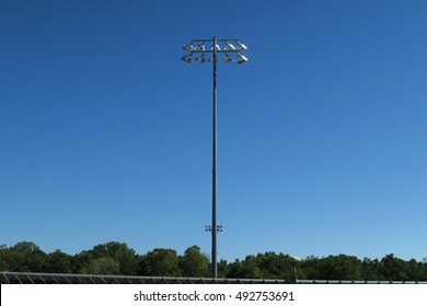 Lights at typical American high school football stadium