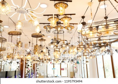 lights and wall lights in the showroom. Lighting Showroom Gallery. Stainless Steel Ceiling Lights Fixture Lamps. Shop Lamps Crystal Chandeliers, Bulbs, Showroom. Vintage industrial lighting fixtures.