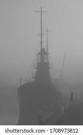 Lightship in Harbour on Foggy Morning