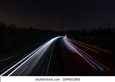 Lighttrails over the Highway with Stars