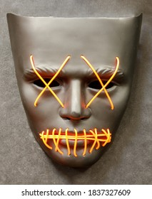 Light-Up El Wire X Eyes Mask Isolated