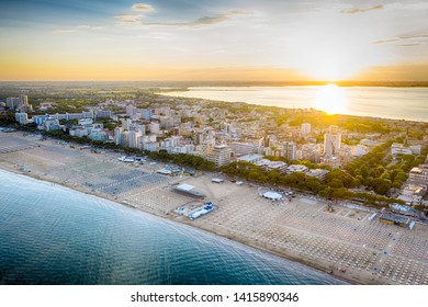 Lignano Sabbiadoro at the Adriatic sea coastline in Italy, Europe during summer.