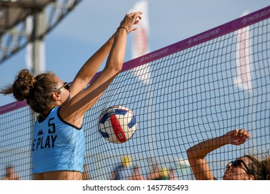 Lignano Sabbiadoro, Italy, July 20 2019 Palla in rete su muro di Gaia Moretto (Ice Play MT San Giovanni in Marignano) during the Beach Volley Summer Tour - Lignano Sabbiadoro - Fase a gironi e incroci