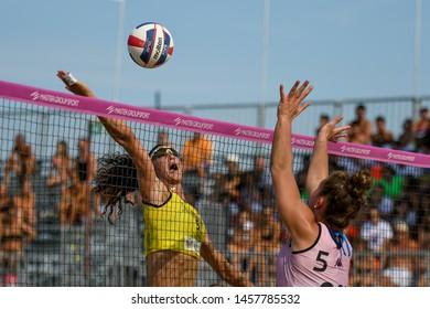 Lignano Sabbiadoro, Italy, July 20 2019 Silvia Fondriest (Agricola Zambelli Millennium Brescia) during the Beach Volley Summer Tour - Lignano Sabbiadoro - Fase a gironi e incroci VOLLEY BEACH VOLLEY L