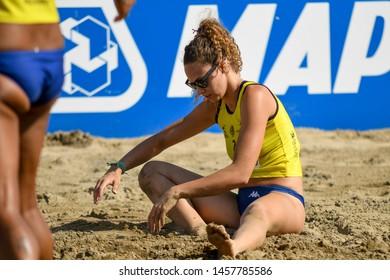 Lignano Sabbiadoro, Italy, July 20 2019 Alice Pamio (Agricola Zambelli Millennium Brescia) delusione during the Beach Volley Summer Tour - Lignano Sabbiadoro - Fase a gironi e incroci VOLLEY BEACH VOL