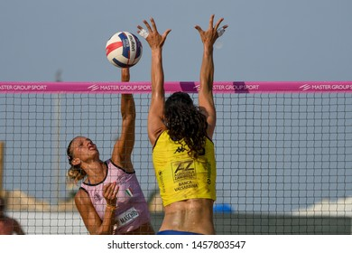 Lignano Sabbiadoro, Italy, July 21 2019 Murro di Silvia Fondriest (Agricola Zambelli Millennium Brescia) su schiacciata di Valentina Zago (VBC APIS Casalmaggiore) during the Legavolley Summer Tour 20