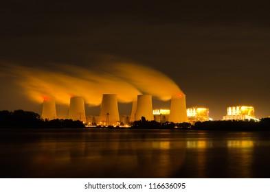 Lignite power plant at night