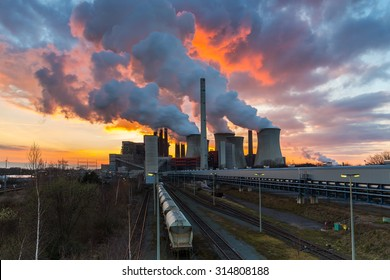 Lignite Power Plant ot sunset with cloudy sky in neurath, germany