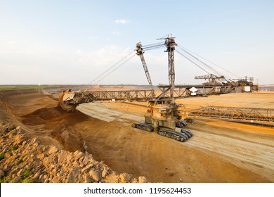 A lignite surface mine with a giant bucket-wheel excavator, one of the worlds largest moving land vehicles.