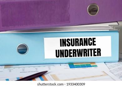 A lignt blue folder with the label INSURANCE UNDERWRITER.
