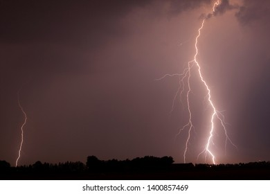Ligntning strikes from a electrical thunderstorm.